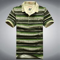 Camel 2013 100% summer cotton turn-down collar male short-sleeve t-shirt plus size loose stripe Men