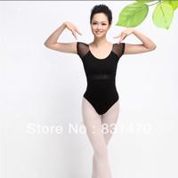 Good quality short sleeve black cotton women dance leotard ballet gymnastic leotards M/L/XL free shipping