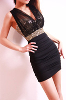 Sexy Low-Cut Gold Sequin Tulle Backless Close-Fitting Clubbing Mini Dress free shiping