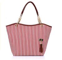 2013 women's handbag stripe canvas bag chain tassel hangings handbag fashion bag, free shipping, L0118T