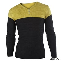 Free Shipping stitching design Korean Slim casual men's V-neck long-sleeved of sweater US Size:XS,S,M  0365