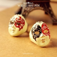 Sakura's Store R1163 fashion accessories beijing opera mask White Oil Red black Opera Mask finger ring