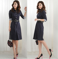 2012 autumn and winter women ol slim plus size 100% cotton one-piece dress