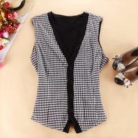Women's end of a single fashion sleeveless 100% cotton vest waistcoat