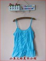 Fashion candy color drawstring slim waist cutout embroidered elastic tube top spaghetti strap