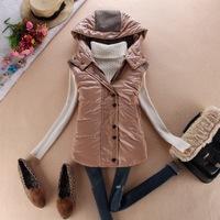 Pu cotton with a hood vest women's end of a single fashion