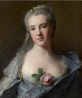 Art oil painting Jean-Marc NATTIER Manon Balletti portrait with rose flowers