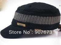 Free shipping Winter Soft WARM Stretch KNIT Hat flat Fashion Men Accessories Military Cap EC8A
