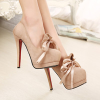 2014 NEW Sexy Women Fashion Bow Shoes Stiletto 14CM Super Flock Beige Black High Heels Pumps Free Shipping 6
