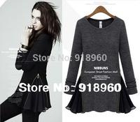 2014 new spring&Autumn women's dress/european style Slim Side Zipper Patchwork Long-Sleeve mini dress/wZW
