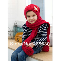 winter baby knitted conjoined hat & cap, children infant beanies hat scarf, free shipping by China post