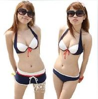 women South Korean push up three-piece boxer bikini swimsuit
