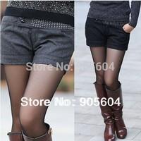 2014 Autumn Fashion Women's Rhinestone Cuff Straight Slim Woolen Short Pants Ladies Casual Winter High Waisted Shorts Trousers