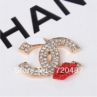 Free shipping 12pcs/lot New  Diamond Red Lip LOGO  30mm Mobile Phone Jewelry Accessories  Beauty Phone Decoration  Wholesale