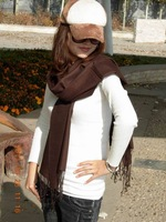 Advanced 11 velvet multi-purpose solid color scarf mix match Chocolate
