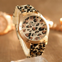 2014 New Fashion Geneva women's leopard gold case brand wristwatches ladies rubber silicone gel jelly quartz dress watch WTH12