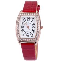 Fashion hours clock with full diamonds leather band watch women 2013 best birthday gift analog tonneau wrist watch dropship
