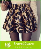 Wholesale Free Shipping Western Style Fashion Leopard Printed PU Leather Mini Skirt TSP269