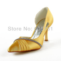 Gold rhinestone pointy toe satin high heel wedding bridal shoes custom made women pleated prom evening party shoes plus size