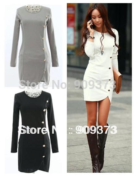 new fashion spring autumn cotton white black grey khaki long sleeve plus size women casual tights dress party dresses 2014(China (Mainland))