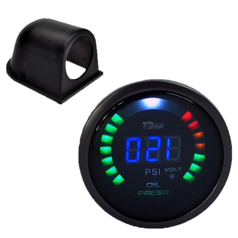 Black Pod 2 1/16 inch 52mm Digital 20 LED Oil Press Pressure Gauge Auto Gauge Car Styling Instruments Free Shipping(China (Mainland))