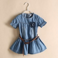 Spring 2014 hot sale girl dresses brand designer girls dress high quality flowers children dress kids clothes