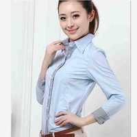 new feshion Female spring women shirts female cotton polyester basic shirt long sleeve stripe shirt female for women Blouses