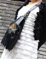 Genuine leather women's handbag cowhide handmade bag casual chest pack national embroidery trend bags