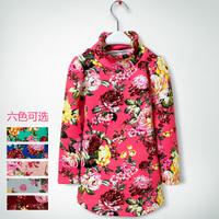 2014 New printed flower babies girls Hoodies turtleneck sweater  plus velvet thickening round swing long-sleeve basic shirt YF05