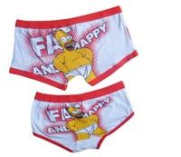 Red edge simpsons couple cotton underwear men's boxer shorts women's briefs cute cartoon mens womens boxer for lover men women