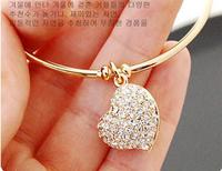 Free Shipping 6PCS/Lot god heart shape crystal bracelet & bangle cheap pulseira metal alloy women jewelry B1334-001