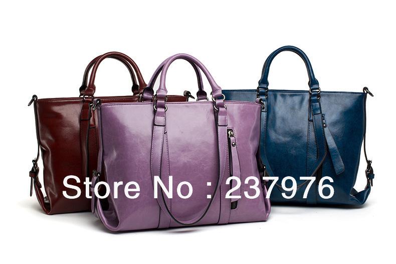 2014 free shipping women handbag genuine leather men messenger bags men's shoulder bags big women bags brown burgundy color(China (Mainland))