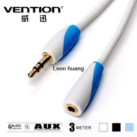 Vention- Gold plated 3.5mm Male to Female Audio Cable White 3M/10FT Headphone Extension Cable FOR Computer/Cellphone/DVD/MP3