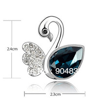 Jewelry sets, silver-plated brass, 24x23mm/15x15mm swan pendant and earstud with crystal mini order 12sets,factory price