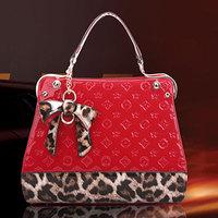 2014 Limited Special Offer Women Animal Prints Pu Zipper Women's Fashion Handbag Embossed Bow Shoulder Bag Messenger A09