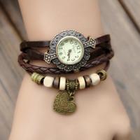 2014 vintage watch popular table decoration ladies watch genuine leather watchband fashion cowhide watch heart