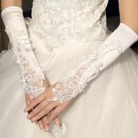 Korean White Wedding Bead Elbow Long Fingerless Prom Evening Bridal Wedding Gloves FREE SHIPPING wholesales
