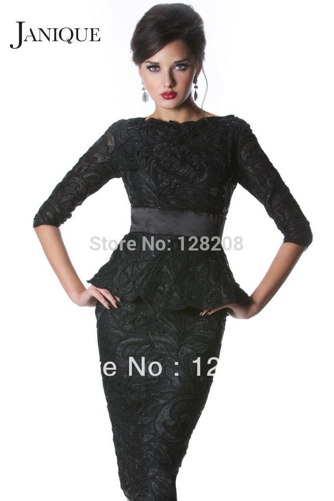 2015 Janique Half Sleeve Black Lace Sheath Peplum Prom Dresses Knee ...