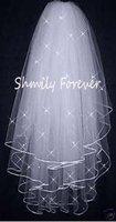 Promotion! High Quality Soft Bridal Illusion White/Ivory 3T Ribbon Edges with crystals Bridal Wedding Veils