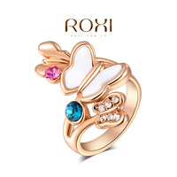 ROXI 2014New Design Classic Genuine Austrian Crystals Sample Sales Rose Gold  Plated  Butterfly Color Ring Jewelry Party OFF