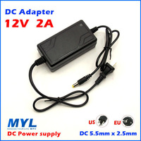Free Shipping US EU Plug AC 100-240V to DC 12V 2A Switching Power Supply Converter Adapter,12V 2A adapter for CCD driver power
