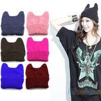 New Hot Fashion Soft Cute Women Girl Warm Winter Cat Ear Animal Shape Knitted Hat Elastic Beanie Cap 055Z