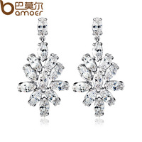Drop Shipping Flower Shape Drop Earrings for Women 18k Platinum Plated AAA Cubic Zirconia High Quality  Jewelry YIE016