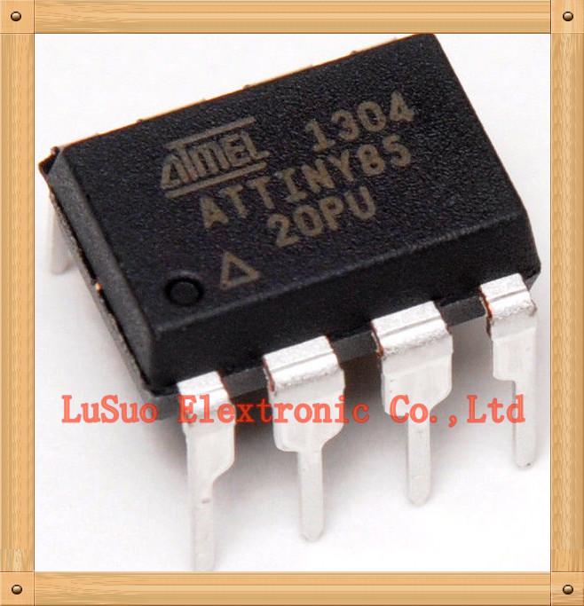 10PCSFree Shipping ATTiny85 ATTiny85-20PU ATTiny85 20PU DIP 8-bit Microcontroller with 2/4/8K Bytes In-System Programmable Flash(China (Mainland))