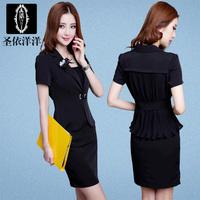 Professional set women's fashion work wear women's summer dress set female short-sleeve set summer