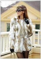 2014 EMS Free Shipping New Genuine Real Rabbit Fur Coat Natural Rabbit Fur Jacket Women Winter Rabbit Fur Waistcoat TP125