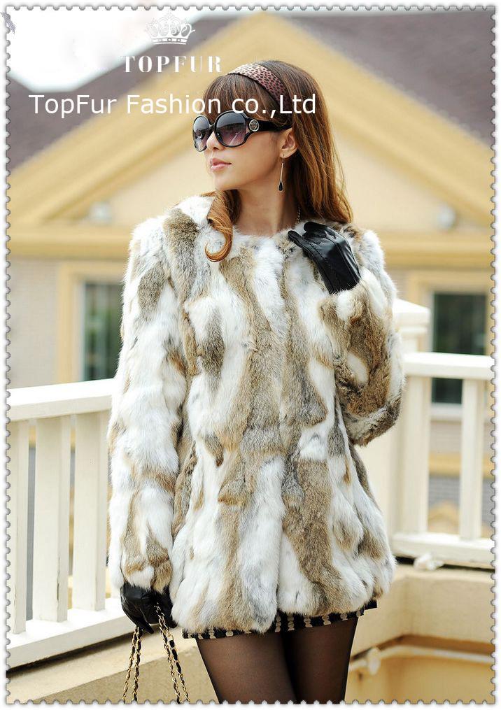 Wholesale Real Rabbit Fur Coat With Fox Fur Collar Women&39S Short