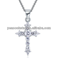 Wholesale Round Cut CZ Simulated Diamond Solid 925 Sterling Silver Cross Pendant Necklace Jewelry CFN8028