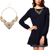 New European Vintage Luxurious Collar Chain  Bronze Lace Flower Chain Choker Necklace for Women Sale 058R