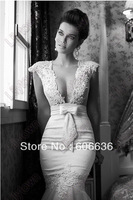 New 2014 Mermaid V-Neck Lace Dots Tulle Bow Sheer Back Special Occasion Wedding Dresses Amazing Sexy Bridal Gowns Free Shipping